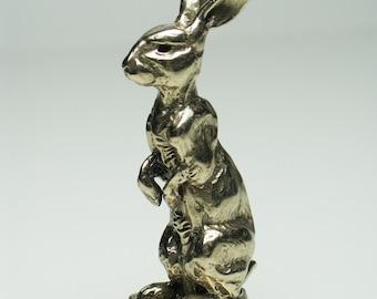 Tiny Alfie bronze rabbit sculpture - Shiny Bright Patina