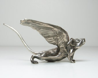 Winged Angel Pugnacious Mouse - bronze sculpture - around 7 inches nose tip to tail tip - Objet d'art metal ornament and luxury paperweight.