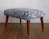 Mid Century Vintage Footstool newly upholstered in ZEBRA Print