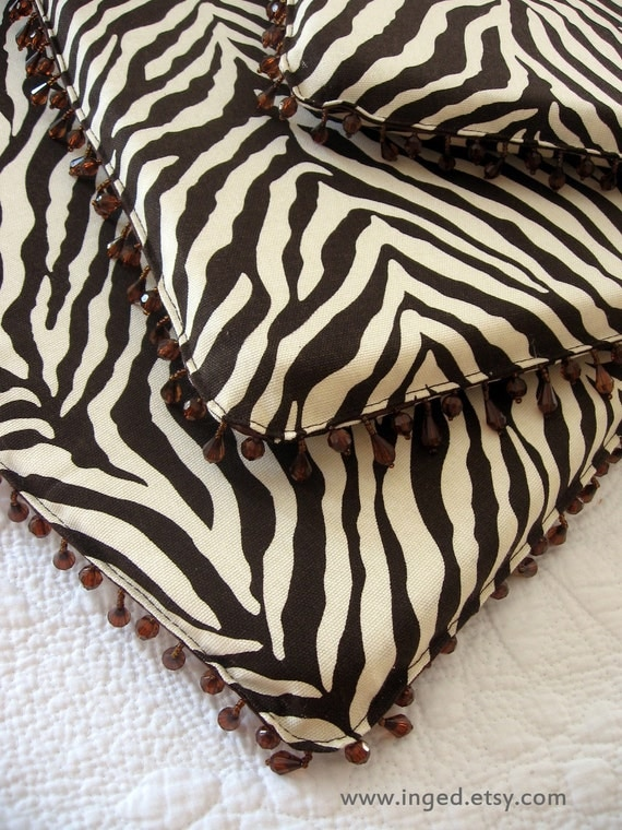 Set Of Four 4 Zebra Print Dining Chair Cushions Pads With