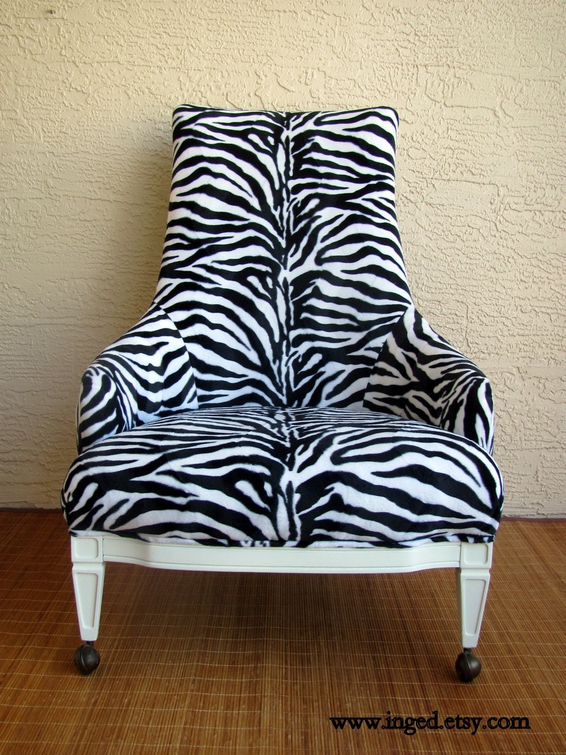 ON SALE Vintage Hollywood Regency ZEBRA Print CHAIR by Inged