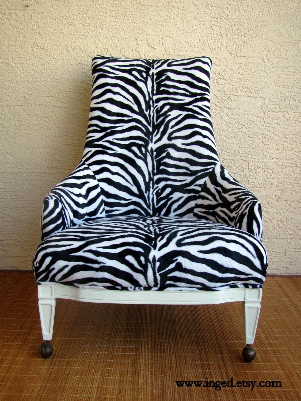 on sale vintage hollywood regency zebra print chair was 495. Black Bedroom Furniture Sets. Home Design Ideas