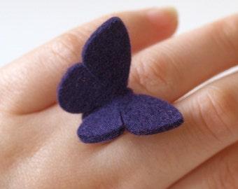 Felt Butterfly Ring -VIOLET- Medium