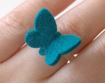 Wool Felt Butterfly Ring - TEAL - Baby butterfly