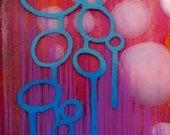 Mardi Gras - Spring Summer Nights -  Modern Art Print - 5 x 5 Inch Fine Art Print - Orange Pink Blue