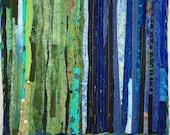 Reserve for Deborah Blue and Green Fiber Art Quilt Wall Hanging