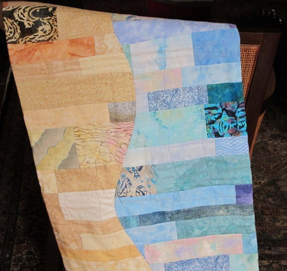 Hand Made Quilt in Beachy Colors