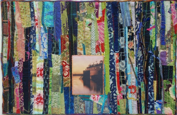 SALE-Getting Away FIber Art Wall Hanging Quilt with Photograph of a Boat