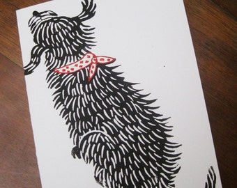 Good Dog, original linocut card