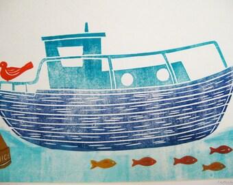 Jolly Blue Boat, linocut print