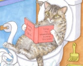 ACEO art print Cat 535 funny painting by Lucie Dumas