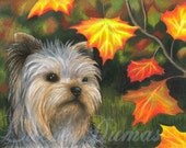 ACEO art print Dog 78 Yorkshire Terrier Fall Autumn, painting by Lucie Dumas