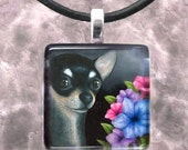 Art Glass Pendant 1x1 Jewelry Necklace from art painting Dog 80 black Chihuahua by L.Dumas