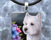 Art Glass Pendant 1x1 Jewelry Necklace from art painting Dog 82 Westie by L.Dumas