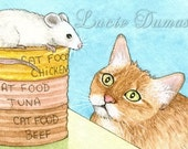 ACEO art print Cat 356 mouse fantasy by Lucie Dumas