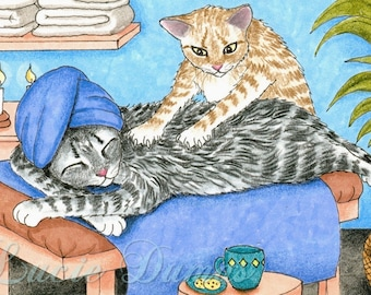 ACEO art print Cat 456 massage, fantasy painting by Lucie Dumas