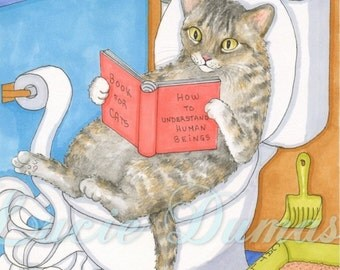 Art print 8x10 from funny painting Cat 535 by Lucie Dumas