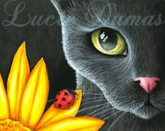 Art print 8x10 from painting black Cat 510 ladybug by Lucie Dumas
