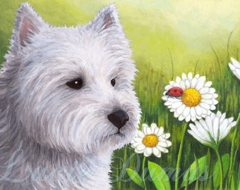 Art print 8x10 from painting Dog 83 Westie West Highland Terrier Ladybug by Lucie Dumas