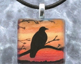 Art Glass Pendant Jewelry Necklace from painting Bird 46 Crow Raven by L.Dumas