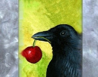 Art Glass Pendant Rectangle Jewelry Necklace, painting Bird 55 Crow Raven by L.Dumas