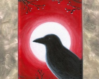 Art Glass Pendant Rectangle Jewelry Necklace, painting Bird 62 Crow Raven by L.Dumas
