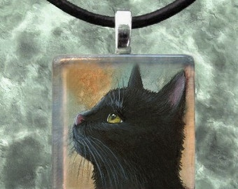 Art Glass or Wood Pendant 1x1 Jewelry Necklace from art painting Cat 545 by L.Dumas