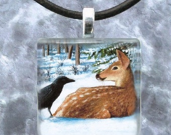 Art Glass Pendant 1x1 Jewelry Necklace from art painting Crow Deer by L.Dumas