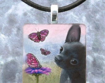 Art Glass Pendant 1x1 Jewelry Necklace from art painting Dog 91 chihuahua by L.Dumas