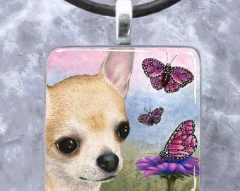 Art Glass Pendant 1x1 Jewelry Necklace from art painting Dog 92 chihuahua by L.Dumas