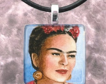 Art Glass Pendant 1x1 Jewelry Necklace from art painting Frida Kahlo 9 by L.Dumas