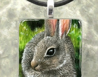 Art Glass Pendant 1x1 Jewelry Necklace from art painting Hare 13 Rabbit bunny by L.Dumas