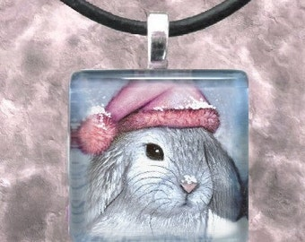 Art Glass Pendant 1x1 Jewelry Necklace from art painting Hare 14 Rabbit by L.Dumas