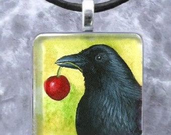 Art Glass Pendant 1x1 Jewelry Necklace from painting Bird 55 Crow Raven by L.Dumas