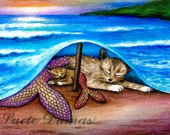 ACEO art print Cat mermaid 21 sunset fantasy by Lucie Dumas