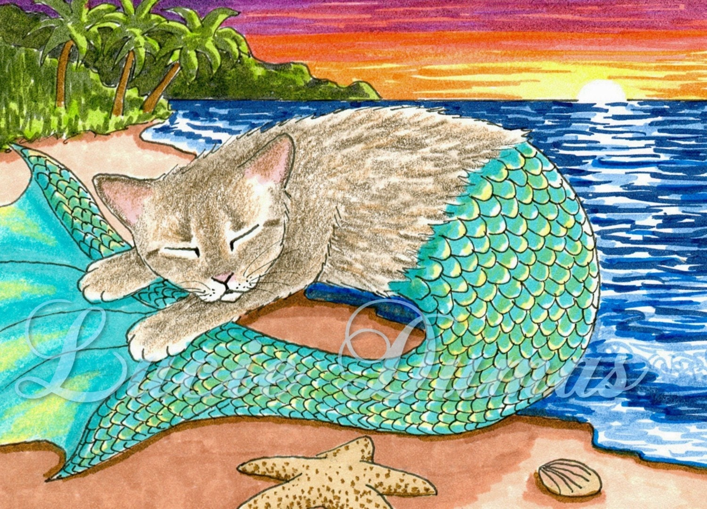 aceo art print cat mermaid 23 fantasy painting by lucie dumas