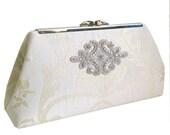 Bridal Clutch - Ivory Silk Damask with Rhinestones - Ivory Silk Lining