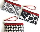 Wristlet Black White Red - Padded Case with Detachable Strap - Made to Order by UPSYTLE