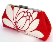 LOTUS Flower Modern Clutch - RED Glazed Linen - Ivory SILK Lining