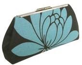 Turquoise Modern Lotus Flower Clutch - Glazed Linen - Turquoise Silk Lining