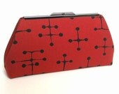EAMES Red Small Dot Clutch - Mid-Century Modern - purse handbag mad men 50s retro