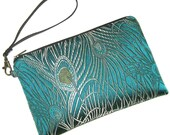 KINDLE Fire Case Peacock Teal  - Detachable Wristlet