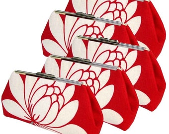 FIVE Bridesmaids Clutches - Red Glazed Linen - Silk Lining - Free Custom Silk Labels - Made in the USA by UPSTYLE