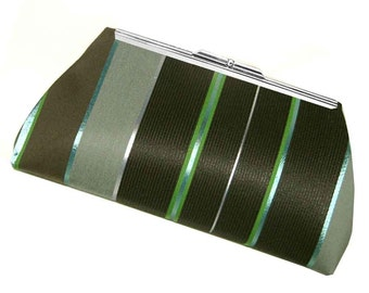 Clutch Purse Handbag Bag - Black Mint Green Gray Stripe - Striped Purse - Bridesmaid Purse