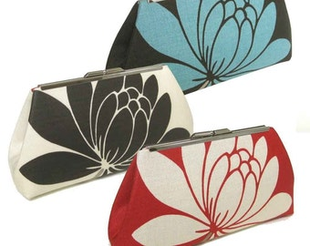 THREE BRIDESMAIDS CLUTCHES - Linen Lotus Flowers - Silk Lining