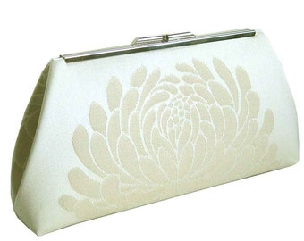 Ivory Bridal Clutch - Shimmering Lotus Flower - Made to Order by UPSTYLE
