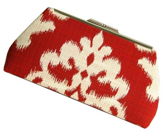 Red Ivory Clutch IKAT Design - Wedding Bridesmaid Mother of the Bride
