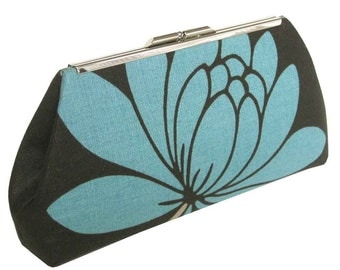 Turquoise Modern Lotus Flower Clutch - Glazed Linen - Turquoise Silk Lining