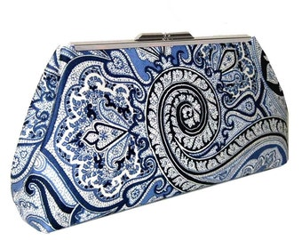Blue White Paisley Clutch Purse, Bridesmaid Gift, Custom Labels available, Bridal Party Idea, Wedding Accessories
