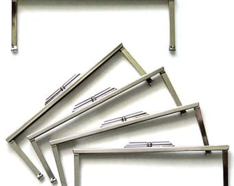 "Silver Metal Purse Frames - Set of 5 - 6 3/4"" Open Channel Clutch Hardware - Bridesmaids Gifts DIY Wedding - Ships from USA"